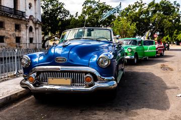 Oldtimer in Havanna Kuba blau und grün