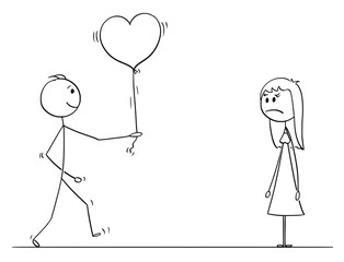 Cartoon stick drawing conceptual illustration of loving man or boy in love giving heart shaped balloon to woman or girl on date as gift or present. She is unhappy.