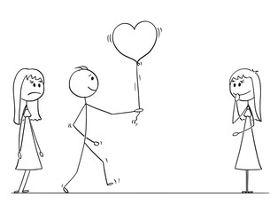Cartoon stick drawing conceptual illustration of loving man or boy in love choosing to give heart shaped balloon to one woman or girl instead of another. Competition in love.