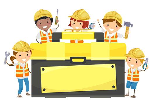 Stickman Kids Tool Box Hold Tools Illustration