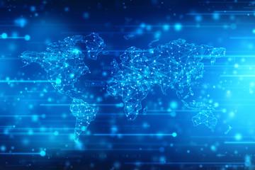 2d illustration world map abstract background, Global Internet Communication Background