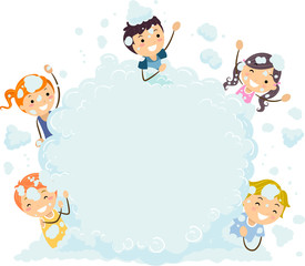Stickman Kids Foam Party Bubble Board Illustration