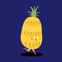 Fresh pineapple cartoon character vector
