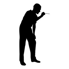 Doctor bent down holding spatula to examine throat Otolaryngologist examines throat tonsils icon black color vector illustration flat style image