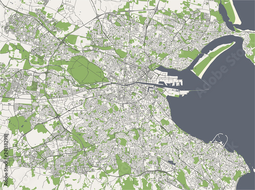 City Map Of Dublin Ireland.Map Of The City Of Dublin Ireland Stock Image And Royalty Free