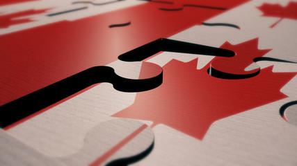 Canada puzzle flag 3d render