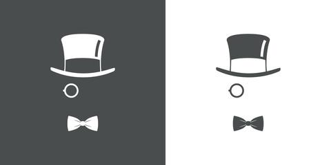 Icono plano con chistera monóculo y corbata de lazo en gris y blanco