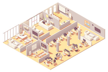 Vector isometric corporate office interior