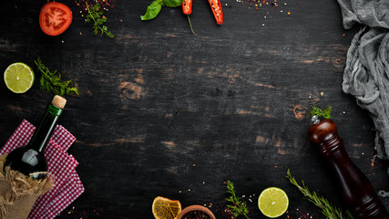 Wall Mural - Food Background. Cooking Concept. On a wooden background. Top view. Free space for your text.