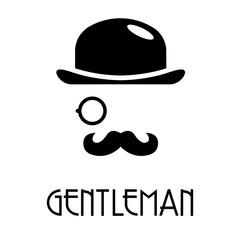 Logotipo abstracto con texto GENTLEMAN con bombín monóculo y bigote en color negro