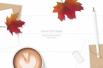 Flat lay top view elegant white composition letter kraft paper envelope pencil eraser coffee and autumn maple leaf on wooden background