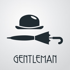Logotipo con texto GENTLEMAN con bombín y paraguas cerrado horizontal en fondo gris
