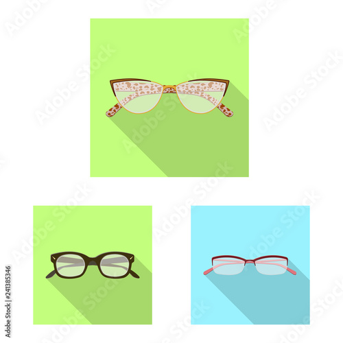 fab98a58867b Vector illustration of glasses and frame icon. Collection of glasses and  accessory vector icon for stock.