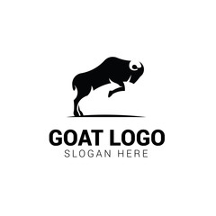 Jumping goat logo template isolated on white background