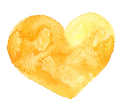 Big bright sunny yellow heart painted in watercolor on clean white background