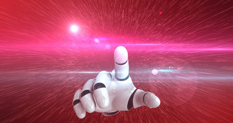 Robot Hand Activating Digital Hud Display - Technology Related Abstract Concept