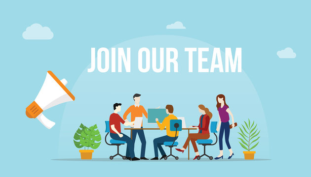join our team concept with team people working together on the desk