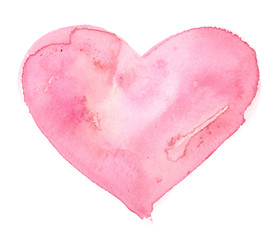 Calm light pastel pink heart painted in watercolor on clean white background