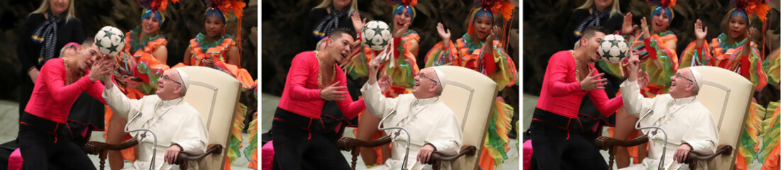 A combination picture shows Pope Francis playing with a ball as members of Circus of Cuba perform  during the Wednesday general audience in Paul VI hall at the Vatican