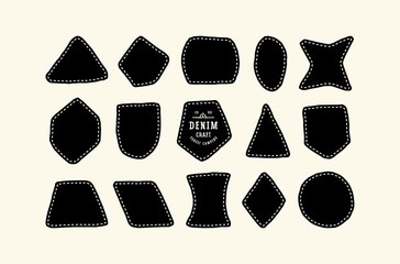 Set of patch silhouettes for denim clothing