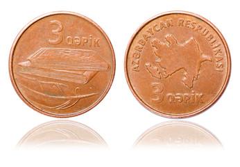 Three 3 azerbaijani qepik coin isolated on white background