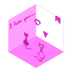 The message of two cats in love in a small room in isometric. Valentine's Day
