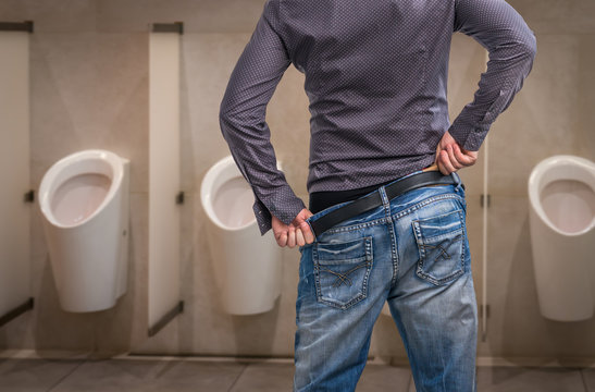 Man wants to pee - incontinence concept