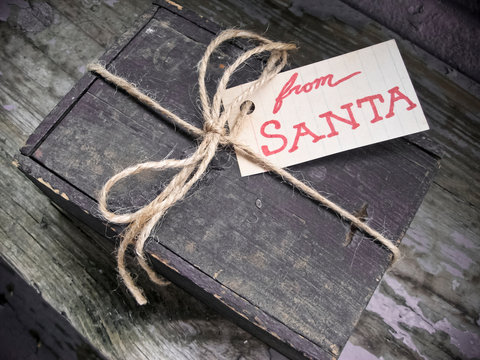 Gift from Santa in a Rustic Wooden Antique Box