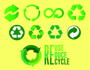set of reduce reuse recycle concept with two design. easy to modify