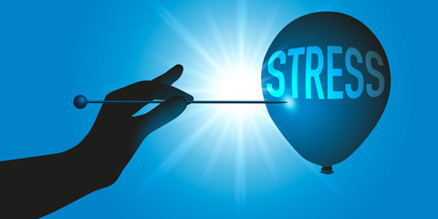 Concept pour supprimer le stress, avec une main qui tient une aiguille pour faire éclater un ballon symbolisant le stress.