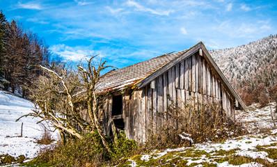 old wooden hut
