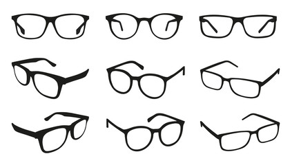 Glasses Icons - Different Angle View - Black Vector Illustration Set - Isolated On White Background