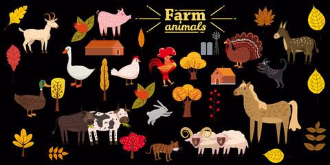 Big set of farm animals, pig, rabbit, cow, bull, cat, dog, goose, duck, turkey, donkey, goat, sheep, ram, modern stylized trees and leaves, autumn, vector, illustration, isolated
