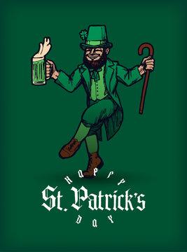 St. Patrick's day dancing leprechaun vector illustration