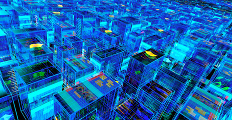 Digital City Abstract Futuristic Background. 3D illustration Wall mural