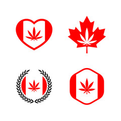 Canadian flag and red maple leaf with cannabis