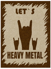 Let`s heavy metal. Rock-n-roll  hand gesture, horn. Rock festival poster. Stylish template for slogan, poster, flyer. Vector with noise and texture, marble textured backdrop. Vertical orientation.