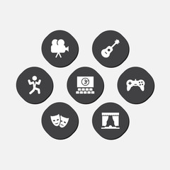Set of 7 pleasure icons set. Collection of masks, theater, guitar and other elements.