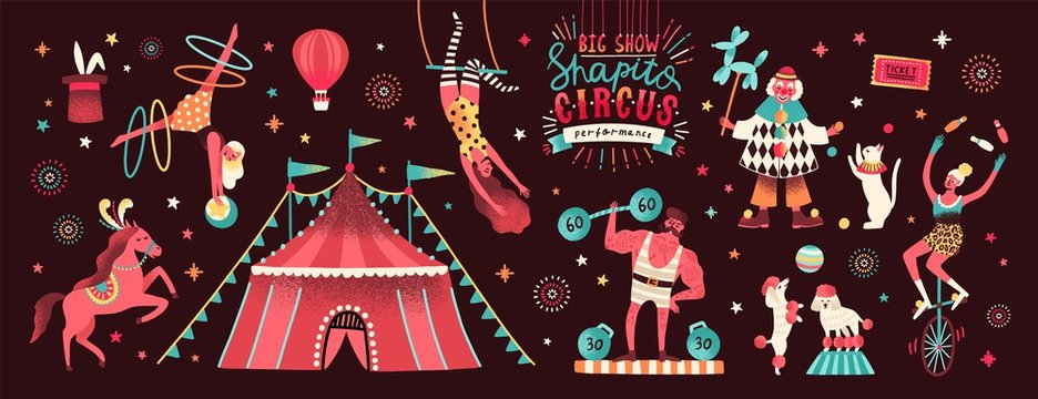 Collection of circus tent and funny show performers - clown, strongman, acrobats, trained animals, trapeze artist, hooper, juggling unicyclist. Colorful vector illustration in flat cartoon style.