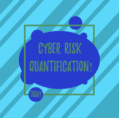 Word writing text Cyber Risk Quantification. Business concept for maintain an acceptable level of loss exposure Asymmetrical Blank Oval photo Abstract Shape inside a Square Outline