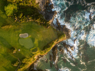 An aerial shot of a seaside golf course on New South Wales' South Coast in Australia.