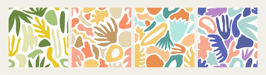 Collection of modern abstract seamless patterns with natural colorful shapes or blots on white background. Trendy motley vector illustration in flat style for wrapping paper, textile print, wallpaper.