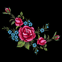 Red roses and blue flowers embroidery on black background. T-shirt design, element for greeting cards. Trend floral design. Satin stitch imitation, vector.