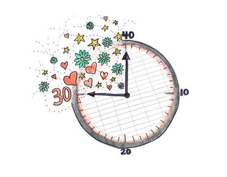 30 Hour Work Week Clock Illustration