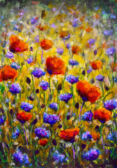 Fotorolgordijn Khaki Field of flowers Impressionism modern oil painting - red flowers poppies blue flowers of cornflowers close-up illustration. Flower modern landscape artwork for poster, for fabric
