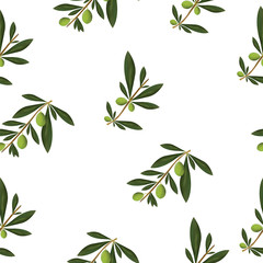 seamless pattern with olive tree vector - floral pattern isolated on white background