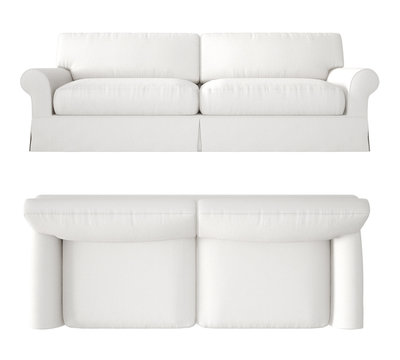 Single white fabric modern sofa isolated on blank background, top and front view, plan, above, contemporary furniture concept idea, mock-up template