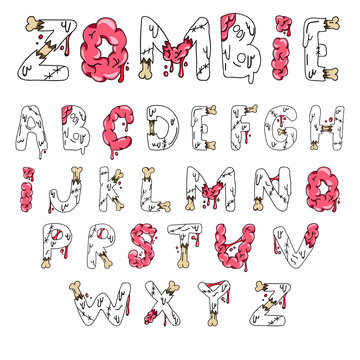 Zombie font. Cartoon green vector letters with brains and bones. Monster, halloween, scary picture.