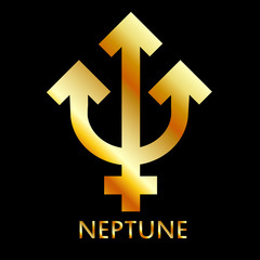 Zodiac and astrology symbol of the planet Neptune in gold colors- astronomical icon