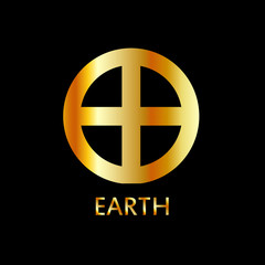Zodiac and astrology symbol of the planet Earth in gold colors- astronomical icon